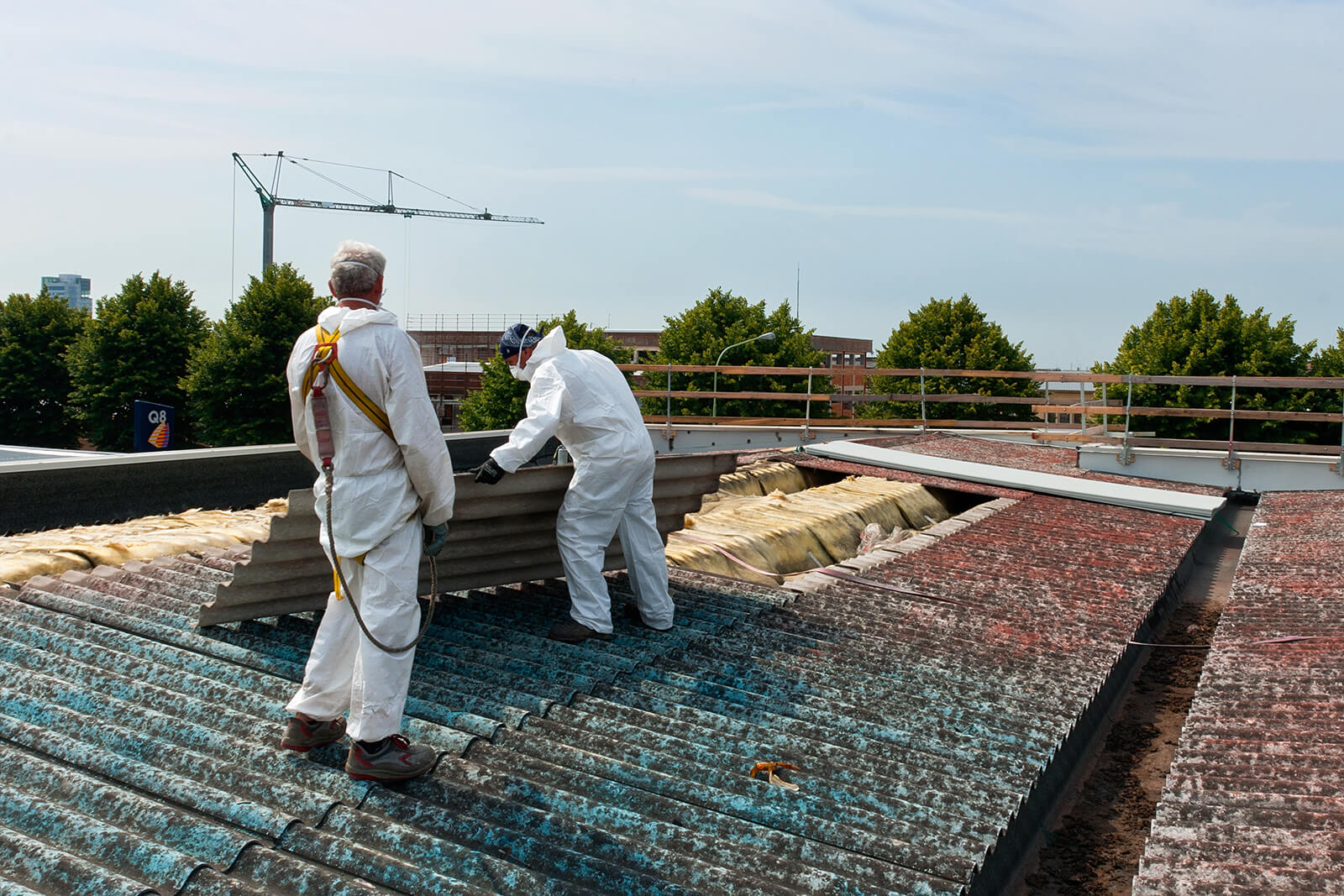 Professional Asbestos Surveys and Removals - Workers remove asbestos from residential building