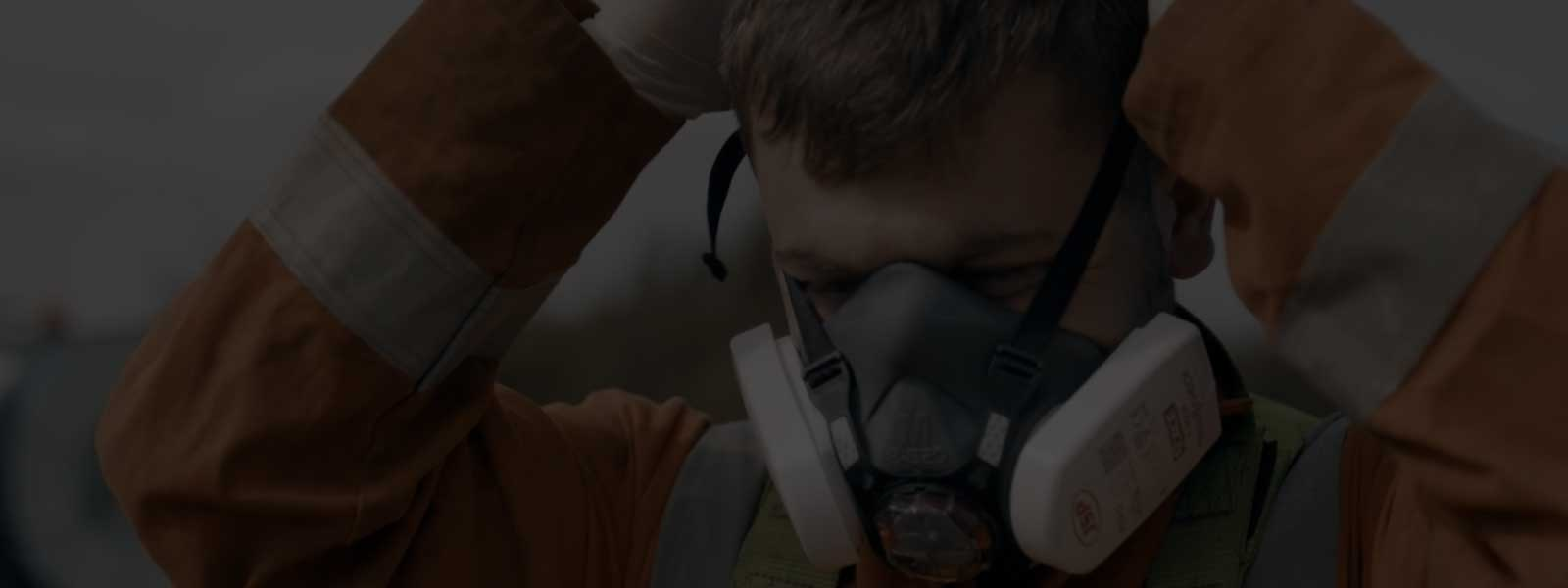 Putting on PPE Breathing Gear